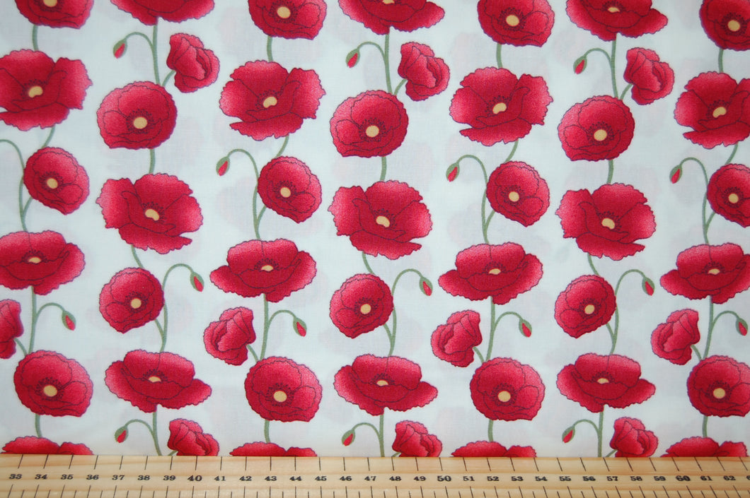 Fabric Shack Sewing Quilting Sew Fat Quarter Cotton Patchwork Dressmaking Rose Hubble Remembrance Day Poppies Poppy Black White