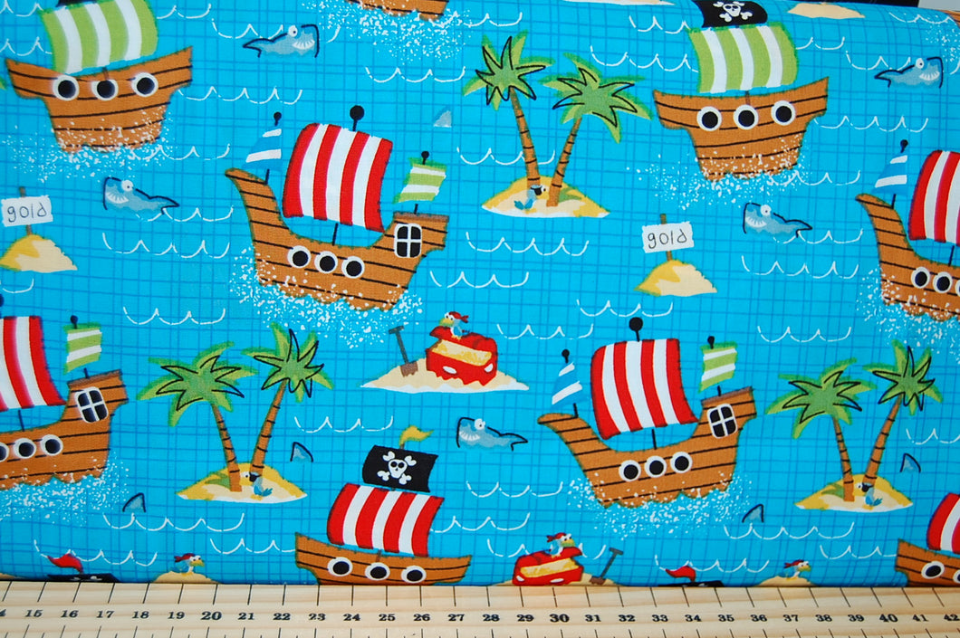 Fabric Shack Sewing Quilting Sew Fat Quarter Cotton Pirate Ship Skull Crossbones Gold Treasure Desert Island Palm Tree Shark