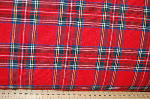 Fabric Shack Sewing Quilting Sew Fat Quarter Cotton Polyester Polycotton Viscose Spandex Tartan Weave Blackwatch Royal Stewart Stretch Dressmaking Fashion (3)