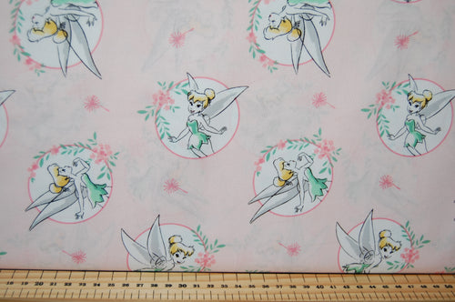 Fabric Shack Sewing Quilting Sew Fat Quarter Cotton Quilt Disney Licensed Licensed Camelot Princess Princesses Tinkerbell Pink Peter Pan