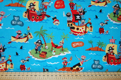 Fabric Shack Sewing Quilting Sew Fat Quarter Cotton Quilt Dressmaking Haberdashery Patchwork Shawn Wallace Riley Blake Pirates Life Shark Skull Crossbones Canon Ship Galleon Treasure Chest Cutlus Island Sword
