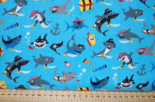 Fabric Shack Sewing Quilting Sew Fat Quarter Cotton Quilt Dressmaking Haberdashery Patchwork Shawn Wallace Riley Blake Pirates Life Shark Skull Crossbones Canon Ship Galleon Treasure Chest Cutlus Islan