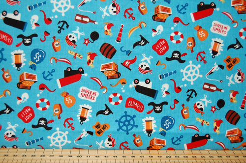 Fabric Shack Sewing Quilting Sew Fat Quarter Cotton Quilt Dressmaking Haberdashery Patchwork Shawn Wallace Riley Blake Pirates Life Shark Skull Crossbones Canon Ship Galleon Treasure Chest Cutlus Islan (2)