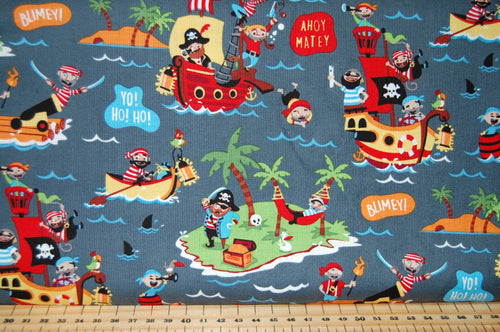 Fabric Shack Sewing Quilting Sew Fat Quarter Cotton Quilt Dressmaking Haberdashery Patchwork Shawn Wallace Riley Blake Pirates Life Shark Skull Crossbones Canon Ship Galleon Treasure Chest Cutlus Islan (5)