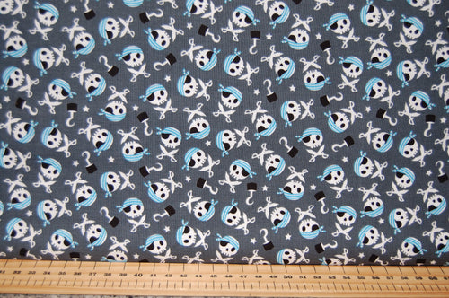 Fabric Shack Sewing Quilting Sew Fat Quarter Cotton Quilt Dressmaking Haberdashery Patchwork Shawn Wallace Riley Blake Pirates Life Shark Skull Crossbones Canon Ship Galleon Treasure Chest Cutlus Islan (3)