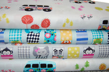 Fabric Shack Sewing Quilting Sew Fat Quarter Cotton Quilt Dressmaking Michael Miller Road Trip Happy Campers Hit the Road Camper Van Camping Sleeping Bag Monkey Elephant Fox Dog Frog