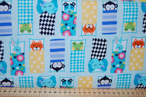 Fabric Shack Sewing Quilting Sew Fat Quarter Cotton Quilt Dressmaking Michael Miller Road Trip Happy Campers Hit the Road Camper Van Camping Sleeping Bag Monkey Elephant Fox Dog Frog 2