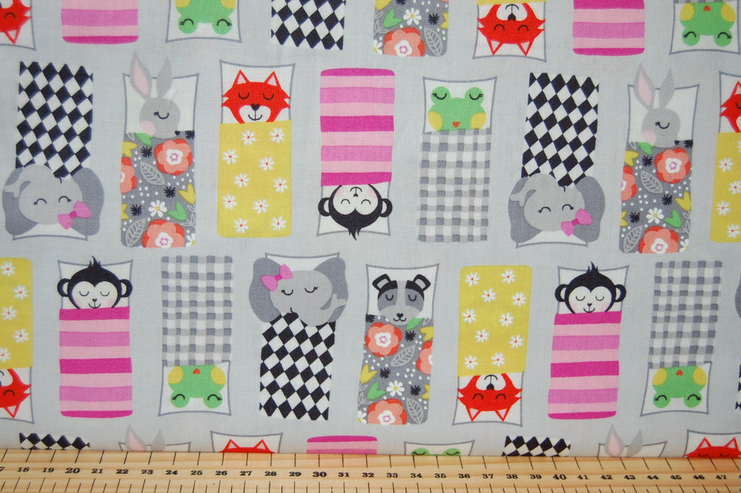 Fabric Shack Sewing Quilting Sew Fat Quarter Cotton Quilt Dressmaking Michael Miller Road Trip Happy Campers Hit the Road Camper Van Camping Sleeping Bag Monkey Elephant Fox Dog Frog 4