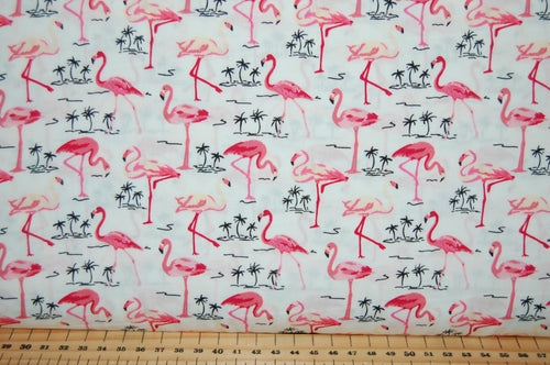 Fabric Shack Sewing Quilting Sew Fat Quarter Cotton Quilt Flamingo Pink White Palm Tropical Patchwork Dressmaking Poplin Rose Hubble & and
