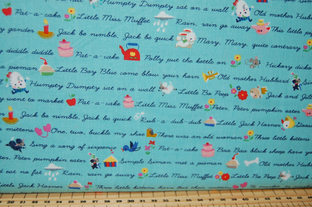 Fabric Shack Sewing Quilting Sew Fat Quarter Cotton Quilt Jill Howarth Riley Blake Once Upon a Rhyme Nursery Books Library Humpty Dumpty Hey Diddle Cat Fiddle Hickory Dickory Dock Jack & and Jill  (2)