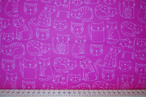 Fabric Shack Sewing Quilting Sew Fat Quarter Cotton Quilt Makower Kitty Bright Novelty Rainbow Cat Kitten Puss Fur Baby Neon Pink White