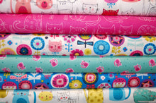Fabric Shack Sewing Quilting Sew Fat Quarter Cotton Quilt Makower Kitty Bright Novelty Rainbow Cat Kitten Puss Fur Baby Neon Pink White Turquoise Blue (2)