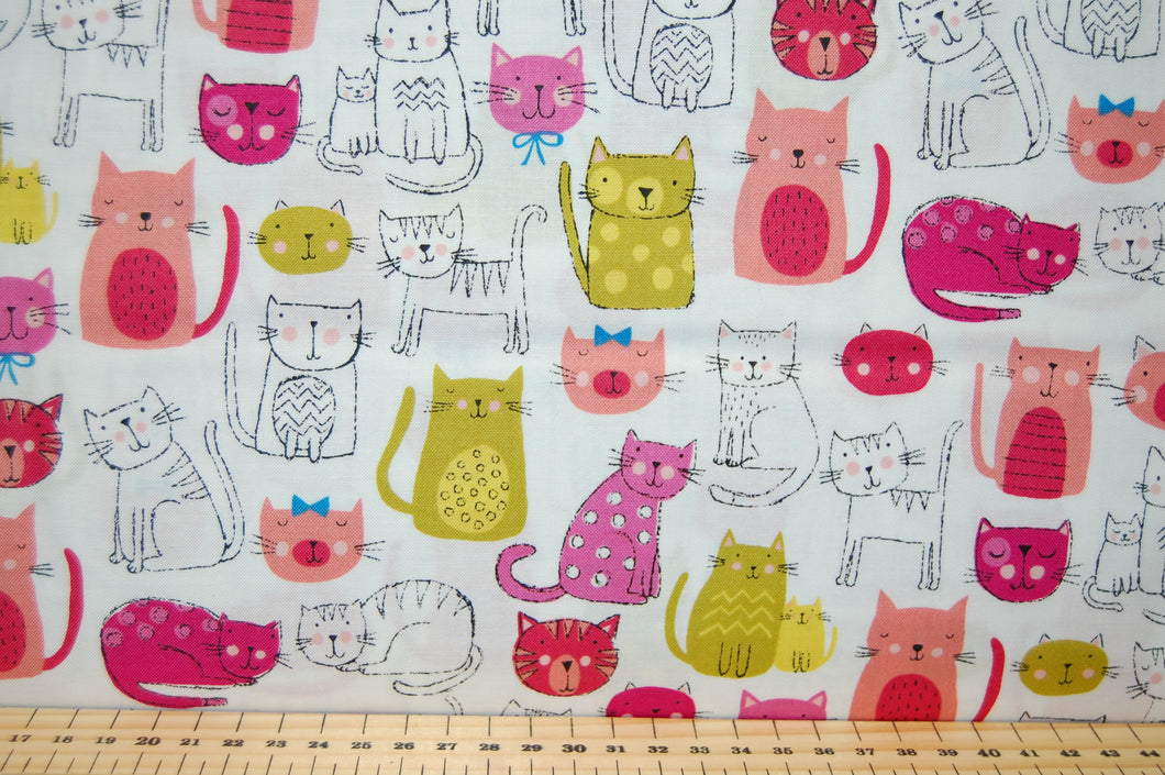 Fabric Shack Sewing Quilting Sew Fat Quarter Cotton Quilt Makower Kitty Bright Novelty Rainbow Cat Kitten Puss Fur Baby Neon Pink White Yellow