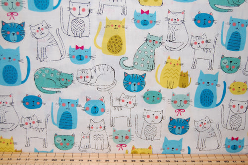 Fabric Shack Sewing Quilting Sew Fat Quarter Cotton Quilt Makower Kitty Bright Novelty Rainbow Cat Kitten Puss Fur Baby  White Turquoise Blue