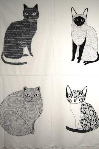 Fabric Shack Sewing Quilting Sew Fat Quarter Cotton Quilt Panel Cat Cats Pussy Kitty Kitten Moda Gingiber Zest Nest Catnip Geometric Monochrome Stylised Large Small Siamese Fat Trianges Black White Dots Circle