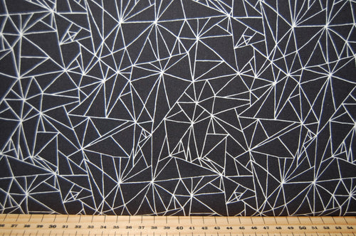 Fabric Shack Sewing Quilting Sew Fat Quarter Cotton Quilt Panel Cat Cats Pussy Kitty Kitten Moda Gingiber Zest Nest Catnip Geometric Monochrome Stylised Large Small Siamese Fat Trianges Black White Dots Circ