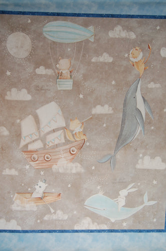 Fabric Shack Sewing Quilting Sew Fat Quarter Cotton Quilt Panel Patchwork Dressmaking Bianca Pozzi 3 Three Wishes Adventures in the Sky Balloon Ship Boat Fox Teddy Whale Rabbit Bunny Lion