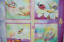 Fabric Shack Sewing Quilting Sew Fat Quarter Cotton Quilt Panle Patchwork Dressmaking Connie Haley 3 Three Wishes In the Meadow Birds Ladybird Dragonfly Bumble Bee Purple Flower Ladybug