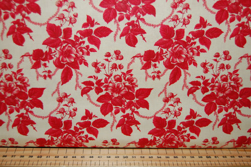 Fabric Shack Sewing Quilting Sew Fat Quarter Cotton Quilt Patchwork Dressmaking 3 Sisters Moda Cinnaberry Christmas Holidays Red Cream Floral Flower Damask (3)