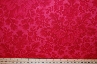 Fabric Shack Sewing Quilting Sew Fat Quarter Cotton Quilt Patchwork Dressmaking 3 Sisters Moda Cinnaberry Christmas Holidays Red Cream Floral Flower Damask (5)