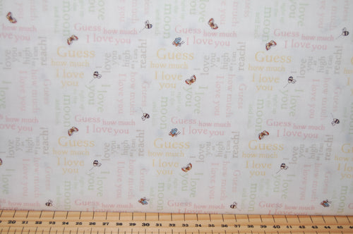 Fabric Shack Sewing Quilting Sew Fat Quarter Cotton Quilt Patchwork Dressmaking Anita Jeram Clothworks Sam McBratney Walker Books Licensed Guess How Much I Love You 2018 Hare Rabbit S (2)