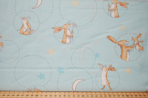 Fabric Shack Sewing Quilting Sew Fat Quarter Cotton Quilt Patchwork Dressmaking Anita Jeram Clothworks Walker Books Licensed Guess How Much I Love You 2018 Hare Rabbit Moon Cuddle Blue