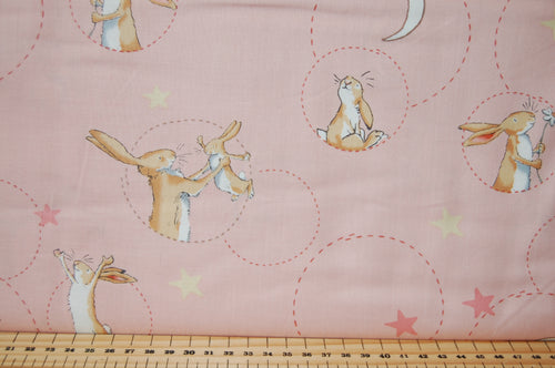 Fabric Shack Sewing Quilting Sew Fat Quarter Cotton Quilt Patchwork Dressmaking Anita Jeram Clothworks Walker Books Licensed Guess How Much I Love You 2018 Hare Rabbit Moon Cuddle Rose Pink