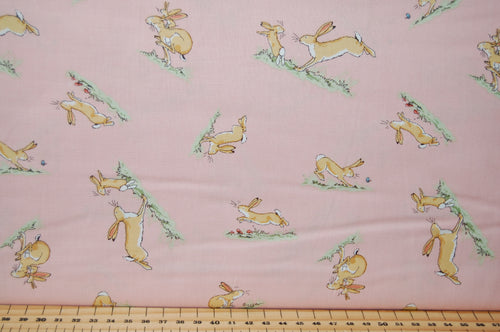 Fabric Shack Sewing Quilting Sew Fat Quarter Cotton Quilt Patchwork Dressmaking Anita Jeram Clothworks Walker Books Licensed Guess How Much I Love You 2018 Hare Rabbit Running Rose Pink