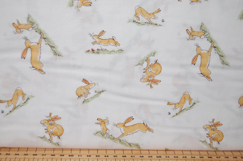 Fabric Shack Sewing Quilting Sew Fat Quarter Cotton Quilt Patchwork Dressmaking Anita Jeram Clothworks Walker Books Licensed Guess How Much I Love You 2018 Hare Rabbit Running White
