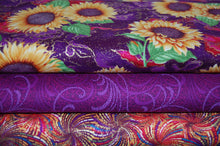 Fabric Shack Sewing Quilting Sew Fat Quarter Cotton Quilt Patchwork Dressmaking Benartex Ann Lauer Grizzly Gulch Galleries Here Comes the Sun Sunflower Metallic Purple (3)