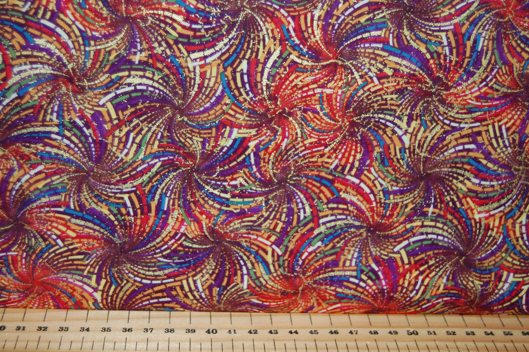 Fabric Shack Sewing Quilting Sew Fat Quarter Cotton Quilt Patchwork Dressmaking Benartex Ann Lauer Grizzly Gulch Galleries Here Comes the Sun Sunflower Metallic Purple (5)