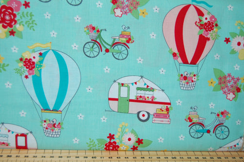 Fabric Shack Sewing Quilting Sew Fat Quarter Cotton Quilt Patchwork Dressmaking Beverly McCullough Flamingo Toes Vintage Adventure Caravan Bunting Holiday Seaside Balloon Bicyle Flower Floral Holi