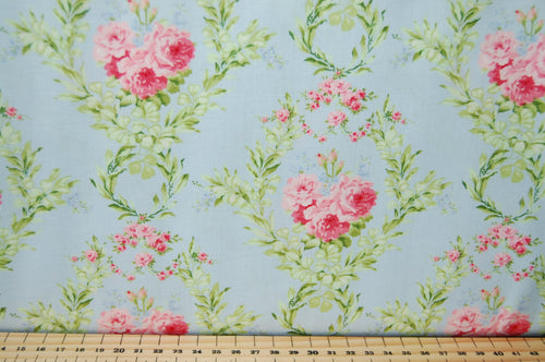 Fabric Shack Sewing Quilting Sew Fat Quarter Cotton Quilt Patchwork Dressmaking Cath Kidson  Classic Floral Flower Guernsey Roses Paisley Pink Blue Cream Large Small