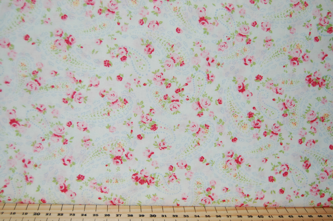 Fabric Shack Sewing Quilting Sew Fat Quarter Cotton Quilt Patchwork Dressmaking Cath Kidson  Classic Floral Flower Guernsey Roses Paisley Pink Blue Cream Large Small 7