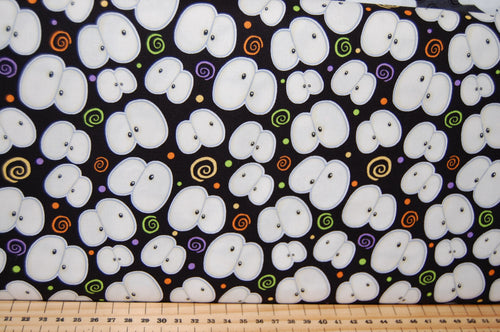 Fabric Shack Sewing Quilting Sew Fat Quarter Cotton Quilt Patchwork Dressmaking Chills Thrills Halloween Shelly Comisky Henry Glass Glow in the Dark Eyes Ghost Spider Web Skeleton (3)