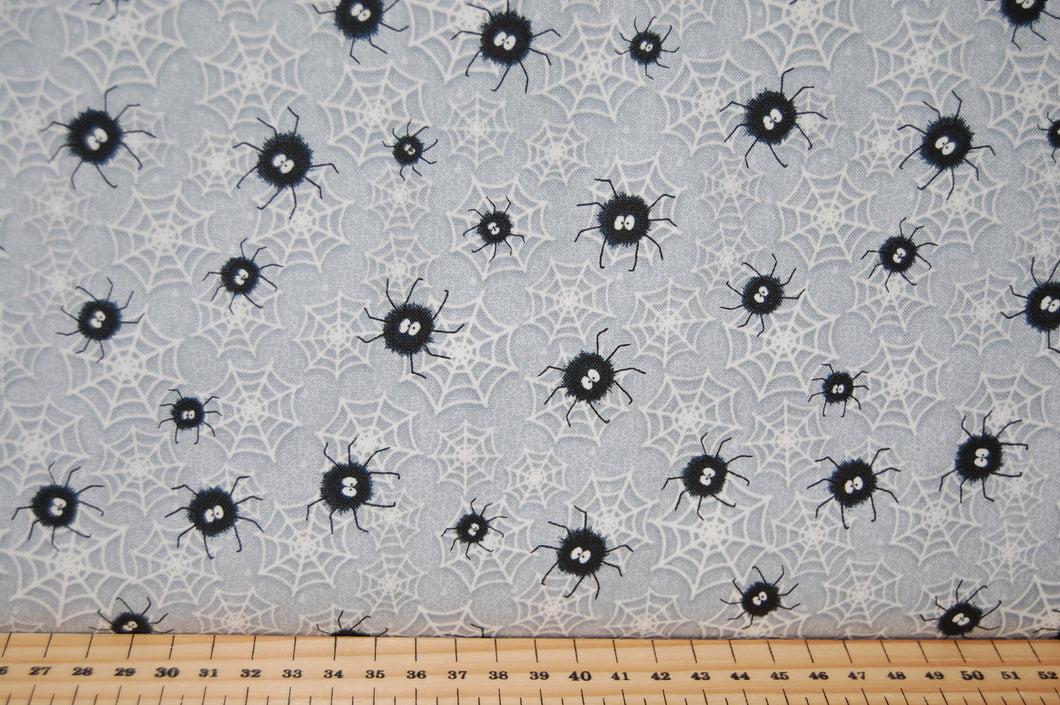 Fabric Shack Sewing Quilting Sew Fat Quarter Cotton Quilt Patchwork Dressmaking Chills Thrills Halloween Shelly Comisky Henry Glass Glow in the Dark Eyes Ghost Spider Web Skeleton (6)