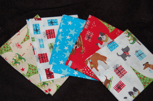Fabric Shack Sewing Quilting Sew Fat Quarter Cotton Quilt Patchwork Dressmaking Christmas Xmas Holidays Doggie Doggy Dog Christmas  Puppy Bundle Dacshund Sausage Dog St Bernard Whippet Pug