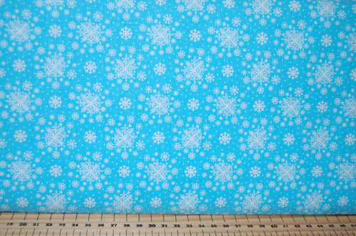 Fabric Shack Sewing Quilting Sew Fat Quarter Cotton Quilt Patchwork Dressmaking Christmas Xmas Holidays Enchanted Forest Stag Woodland Snowflake Turquoise Light Blue (7)