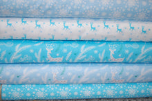 Fabric Shack Sewing Quilting Sew Fat Quarter Cotton Quilt Patchwork Dressmaking Christmas Xmas Holidays Enchanted Forest Stag Woodland Snowflake Turquoise Light Blue (2)