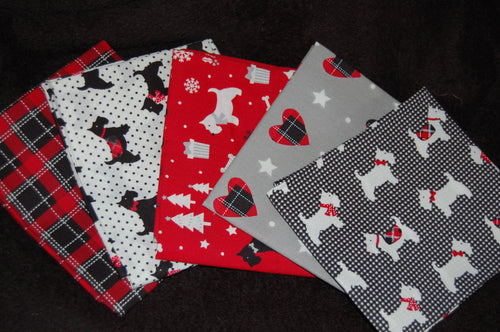 Fabric Shack Sewing Quilting Sew Fat Quarter Cotton Quilt Patchwork Dressmaking Christmas Xmas Holidays Scotty Scottie Scotland Dog Bundle Pillow Panel Red Black Tartan Check Polka Dot (2)