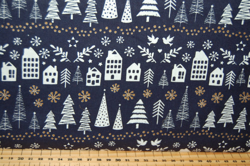 Fabric Shack Sewing Quilting Sew Fat Quarter Cotton Quilt Patchwork Dressmaking Christmas Xmas Holidays Simply Christmas Village Houses Snow Doves Trees Navy Grey Metallic (2)
