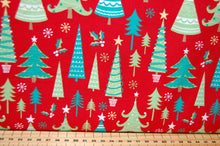 Fabric Shack Sewing Quilting Sew Fat Quarter Cotton Quilt Patchwork Dressmaking Christmas Xmas Holidays Trees Forest Red