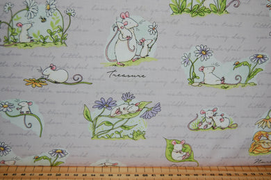 Fabric Shack Sewing Quilting Sew Fat Quarter Cotton Quilt Patchwork Dressmaking Clothworks Anita Jeram Daisy Daisy Mice Mouse Flower Floral Daisies Border Print Sleeping Petal Script (2)