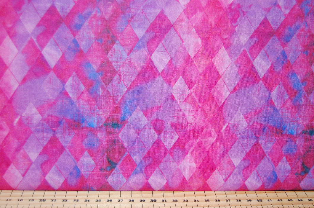 Fabric Shack Sewing Quilting Sew Fat Quarter Cotton Quilt Patchwork Dressmaking Connie Haley 3 Three Wishes Sassy Animals Check Harlequin Harlequinn Diamonds Pattern Purple Pink