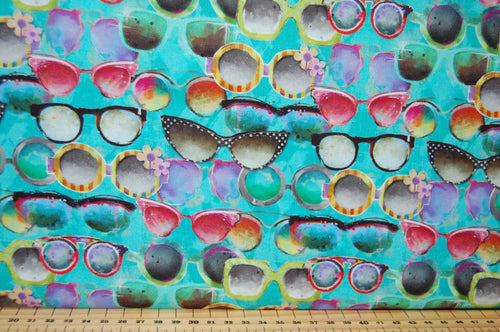 Fabric Shack Sewing Quilting Sew Fat Quarter Cotton Quilt Patchwork Dressmaking Connie Haley 3 Three Wishes Sassy Animals Sunglasses Sun Sunshades Shades Unicorn Giraffe Bear Fox Goat Elephant Cat Bear Bull