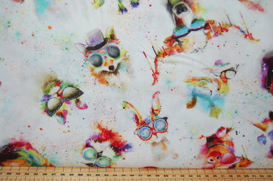 Fabric Shack Sewing Quilting Sew Fat Quarter Cotton Quilt Patchwork Dressmaking Connie Haley 3 Three Wishes Sassy Animals Sunglasses Sun Sunshades Shades Unicorn Giraffe Bear Fox Goat Elephant Cat Bea (2)