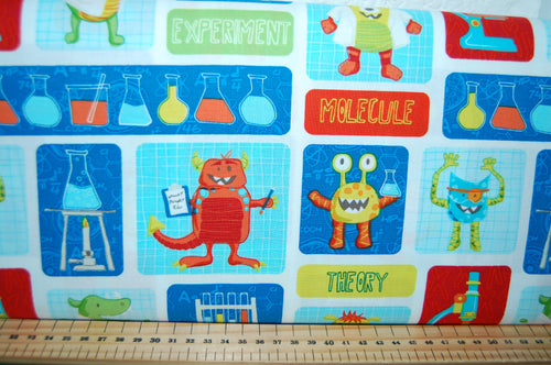 Fabric Shack Sewing Quilting Sew Fat Quarter Cotton Quilt Patchwork Dressmaking Dana Saulnier Patterned Peacock Studio E Monster Lab Quiet Book Height Chart Science Panel (4)