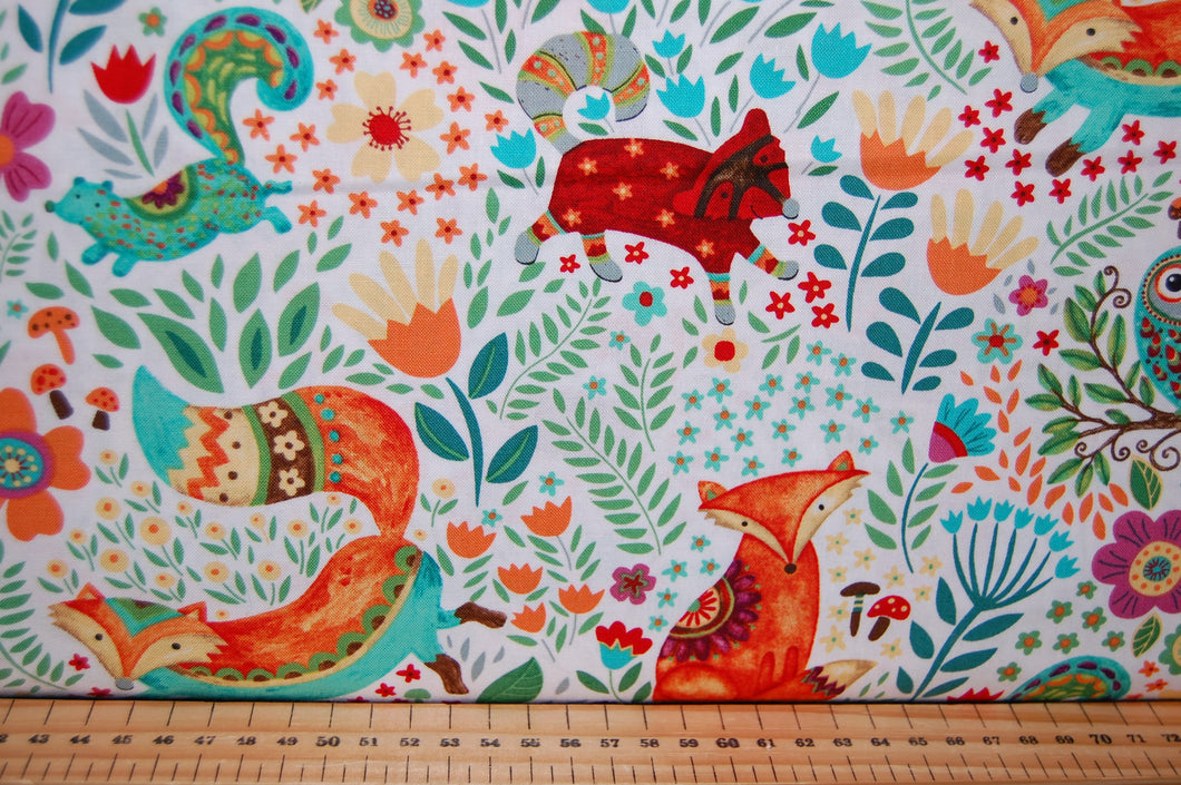 Fabric Shack Sewing Quilting Sew Fat Quarter Cotton Quilt Patchwork Dressmaking Debi Hron Henry Glass Spring Awakens Awakenings Forest Fox Owl Squirrel Folk Art Boho Animals Woodland (3)