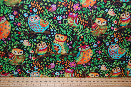Fabric Shack Sewing Quilting Sew Fat Quarter Cotton Quilt Patchwork Dressmaking Debi Hron Henry Glass Spring Awakens Awakenings Forest Fox Owl Squirrel Folk Art Boho Animals Woodland (4)
