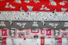 Fabric Shack Sewing Quilting Sew Fat Quarter Cotton Quilt Patchwork Dressmaking Disney 101 Dalmatians Dalmations Dogs Puppies Puppy Pongo Perdy Perdey London Telephone Phone Box Portraits Big Ben Spo